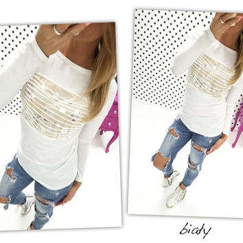 White Sequined Long Sleeve Top