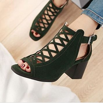 Newest Women Summer Fish Mouth Sandals High Heels Green
