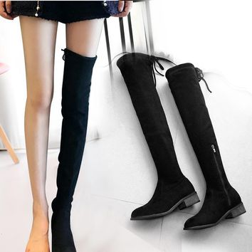Women Long Black boots in Winter