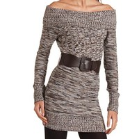 Marled Cowl Neck Sweater Dress