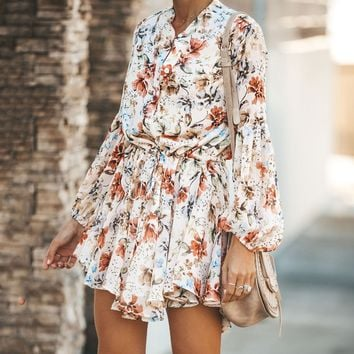Fashion Popular Women Casual Flower Print Long Sleeve Dress