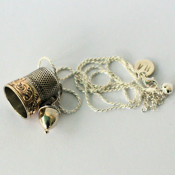 Peter Pan and Wendy Lost Boys Thimble and Acorn Necklace in Solid Sterling Silver