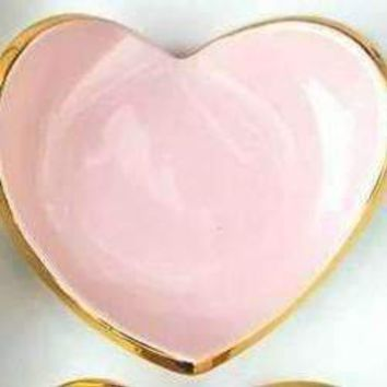 Heart Ring Dish with Gold Rim