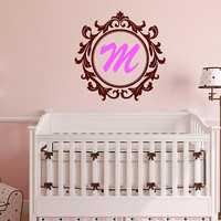 Custom Monogram Decal, Monogram Decal, Nursery Room Decal,  Personalized Art, Girls  Room Decor, Vinyl Name Decal, Baby Name Decal, nm051