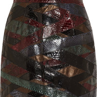 Emilio Pucci - Patchwork python and metallic leather mini skirt