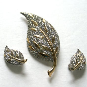 Rhinestone Pave Leaf Brooch and Earrings Demi Parure by Marvella