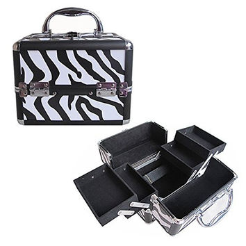 "BerucciTM Professional Zebra 8"" Lightweight Aluminum Makeup Artist Organizer Kit with 4 Extendable Trays, Aluminum Trimming, Lock and Keys, and Shoulder Strap"