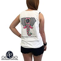 Southern Couture Preppy Elephant Chevron Pattern Comfort Colors Tank Top