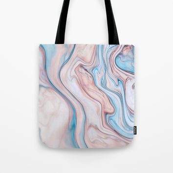 Marble| pink & blue Tote Bag by Oksana