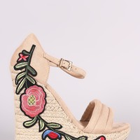 Wild Diva Lounge Embroidered Floral Suede Espadrille Platform Wedge
