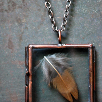 Glass Square Locket Necklace - Boho Necklace - Feather