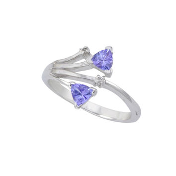 Sterling Silver .01ct Genuine Diamond Ring with Tanzanite Stones Double Triangle