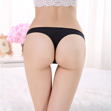 Sexy G String Seamless Panties Underwear Women Thin Candy Color Tanga Low Waist Bikini Thongs Briefs Calcinha