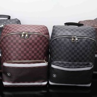 """Louis Vutitton"" Fashion Multicolor Tartan Logo Backpack Men Casual Large Capacity Double Shoulder Bag"