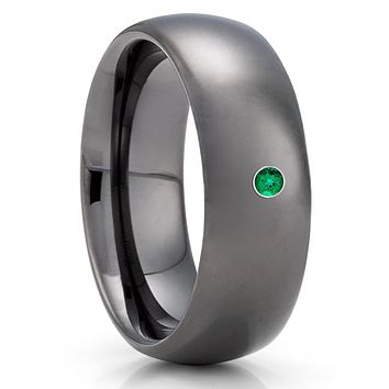 Emerald Tungsten Ring - Gunmetal Tungsten Ring - Tungsten Wedding Band  - 8mm