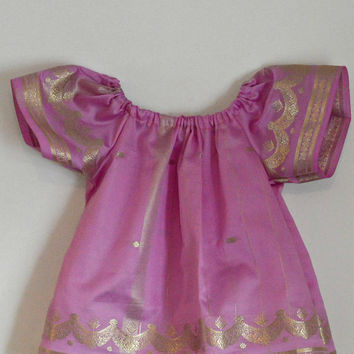 Simple Elegance Light Purple Silk Indian Sari Fabric Peasant Top - Upcycle / Recycle ONE LEFT Size 2T