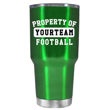 TREK Property of Football Personalized on Translucent Green 30 oz Tumbler Cup