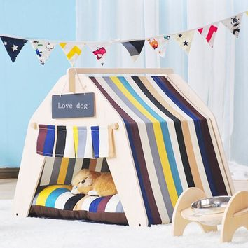High quality Wooden Pet tent Dog house Pet House Tent Wood Kennel Puppy love Dog Cat Bed House with ped SE16