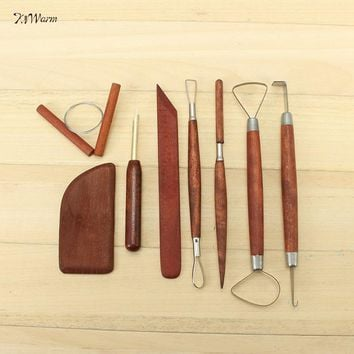 New Arrival  8 pcs Red WoodPottery Tool Set Clay Ceramics Molding Tools For Pottery Clay Molding