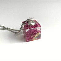 Dark Pink Amaranth Flower Necklace, resin cube pendant dried pressed flowers nature natural gift gifts for her Mother's Day Anniversary