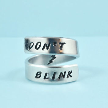 DON'T BLINK - Hand Stamped Spiral Ring, Doctor Who Inspired, Personalized Gift