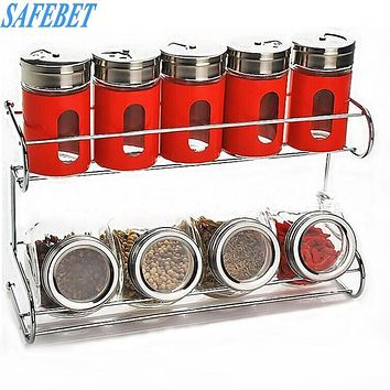 SAFEBET 10 Pcs Stainless Stee Spice Storage Bottle Kitchen Spice Tool Organizer Glass Food Spice Kitchen Storage Container Rack