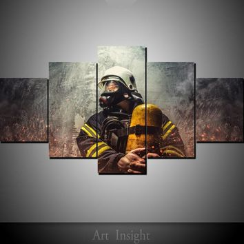 5 Panel Firefighter Wall Art Prints on Canvas Firefighter Wall Art Fireman Canvas