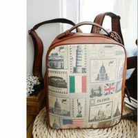 Unique Flag And Famous Architecture Backpack Bag
