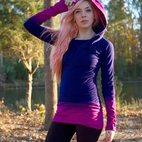 Blue and Pink Washed Color Ruched Hooded Sweatshirt