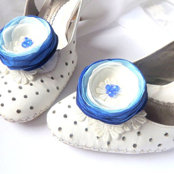 Shoes Clips , Blue and white flowers Cornflower-blue Silk Flower Wedding  Accessories for wedding , Accessories for women , Shoe Accessories