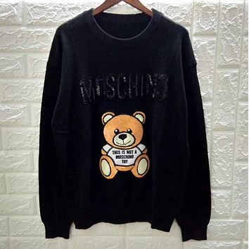 MOSCHINO Stitching sequined yellow Cartoon Bear Dalang sweater