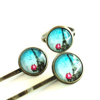 Eiffel Tower Ring Hair Pins Set Yoga Jewelry Bobby Pins Adjustable Paris Pink Aqua Blue Unique Mothers Day Birthday Gift Under 20 Item E58