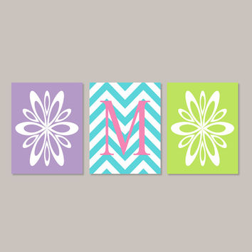 Teen Girl Room Decor Wall Art Flower Burst Initial Chevron Artwork Pink Turquoise Teal Lavender Bedroom Decor Set of 3 Prints Or Canvas