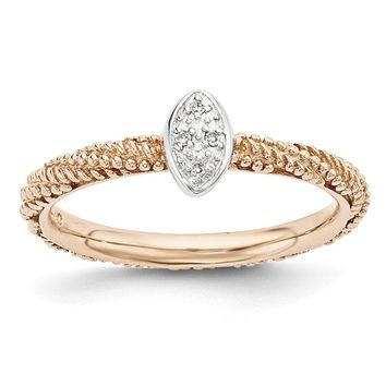 Sterling Silver & Rose Gold Tone .02 Ctw I3 H-I Diamond Stackable Ring