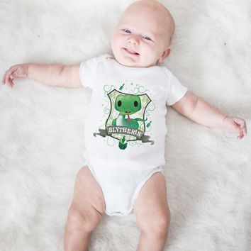 Lovely Green Snake Print Baby Bodysuits Summer Clothes For Boys Girls