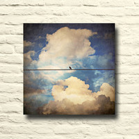 Bird on wire photo. Vintage photography. canvas wall decor. navy. blue. clouds. cloudy sky. nature. bird home decor