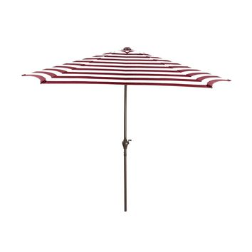 8ft Outdoor Patio Market Umbrella with Hand Crank and Tilt Burgundy and White Stripe