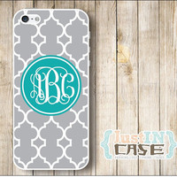 Grey Quatrefoil Monogram Personalized iPhone 4/4s/5/5c/5s Cell Phone Case,Samsung Galaxy s3/s4/s5/note3 Cover,Custom Initials Monogram Case