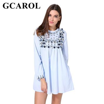 GCAROL 2018 New Arrival Embroidered Floral Striped Blue Dress High Waisted Hair Bulb Cute Bady-doll Dress With Pockets