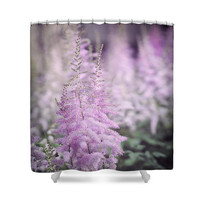 Pink  Blooming Wild Flowers Photo Art Shower Curtain, Botanical Photo Art Pink Bathroom Decor,Fine Art Photography, Bath Curtain, Nature