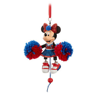 Disney Parks Minnie Cheerleader Articulated Figural Christmas Ornament New Tags