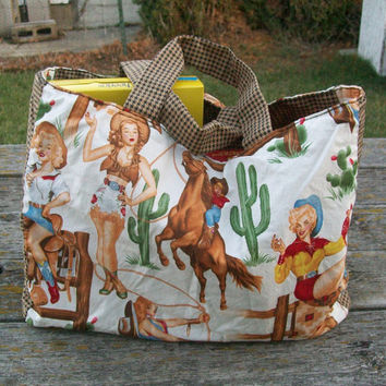 Reusable Grocery Bag Cowgirl Pinups Tote Bag Reversible Ready to Ship OOAK