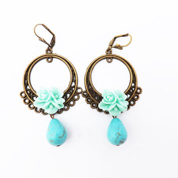 Mexican Folk Dangle Earrings Blue