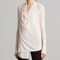 ALLSAINTS US: Womens Drina Ribbed Cardigan (almond_pink_marl)