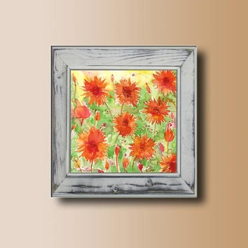 Art Print Orange Flowers, Colurful Home and Wall decor, Summer Spring Flowers Garden Landscape  Modern Contemporary art