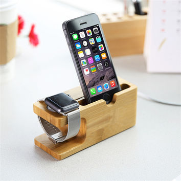 Bamboo Original Stand Charging Dock Station Bracket Accessories iPhone 6s 4 4s 5 5s 5c  6plus For apple iphone watch