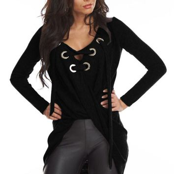 Chicloth Black Lace Up Long Sleeve Ruched Pullover Shirt