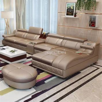 4 Seat Leather Living Room Sofa Set With Massage Function Rotating Chair