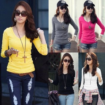 New Wowmn Basic V Neck Long Sleeve Fitted Pain Top Solid Stretch T Shirt SV006137 Base shirt One size = 1745498948