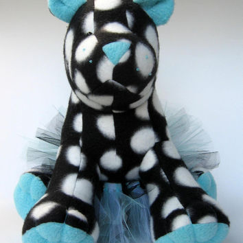 TwinkleToes the dancing panther, fleece animal, stuffed, tutu, black and white spots